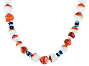Spiny Oyster Shell, Blue Lapis Lazuli, & Turquoise 19 Inch Necklace