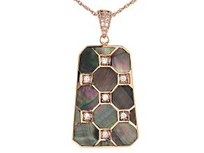 Tahitian Mother-of-Pearl & White Zircon 1.5ctw 18k Rose Gold Over Sterling Silver Pendant With Chain