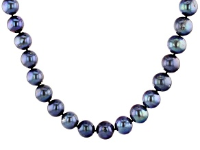 Black Cultured Freshwater Pearl Rhodium Over Sterling Silver 20 Inch Strand Necklace