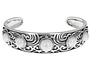 White Cultured Freshwater Pearl Sterling Silver Bangle
