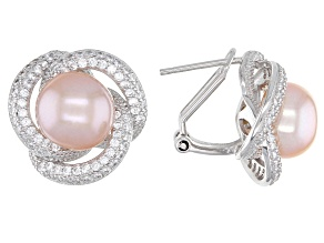 Pink Cultured Freshwater Pearl & Cubic Zirconia 1.5ctw Rhodium Over Sterling Silver Earrings