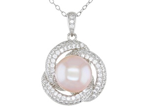 Pink Cultured Freshwater Pearl & Cubic Zirconia Rhodium Over Sterling Silver Pendant