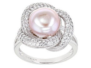 Pink Cultured Freshwater Pearl & Cubic Zirconia 0.79ctw Rhodium Over Sterling Silver Ring