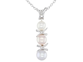 Multi-Color Cultured Freshwater Pearl With Diamond Accent Rhodium Over Silver Pendant
