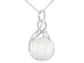 White Cultured Freshwater Pearl, Diamond Accent, Lab Created Sapphire Rhodium Over Silver Pendant