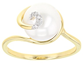 White Cultured Freshwater Pearl With Diamond Accent 18k Yellow Gold Over Silver Ring