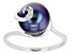 Black Cultured Freshwater Pearl With Diamond Accent Rhodium Over Sterling Silver Ring