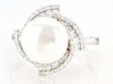 White Cultured Freshwater Pearl & Cubic Zirconia 1.13ctw Rhodium Over Sterling Silver Ring