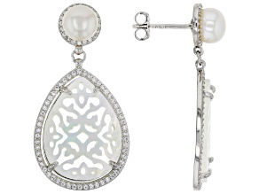 White Cultured Freshwater Pearl, Mother-of-Pearl, & Bella Luce® Rhodium Over Silver Earrings