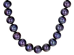 Black Cultured Freshwater Pearl Rhodium Over Sterling Silver 18 Inch Strand Necklace