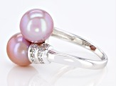 Pink Cultured Freshwater Pearl & Cubic Zirconia Rhodium Over Sterling Silver Ring
