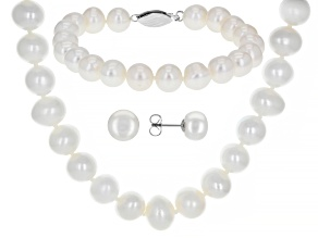 White Cultured Freshwater Pearl Rhodium Over Silver 18 Inch Necklace, Bracelet, & Earring Set