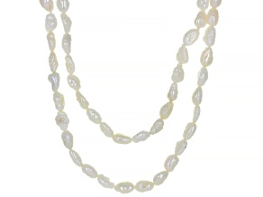 White Cultured Freshwater Pearl 43 & 45 Inch Endless Strand Necklace Set of 2