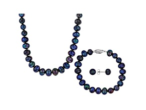 Black Cultured Freshwater Pearl Rhodium Over Silver 18 Inch Necklace, Bracelet, & Earring Set
