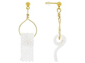 Pearl Simulant Gold Tone Over Sterling Silver Drop Earrings