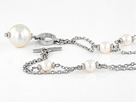 White Cultured Freshwater Pearl Rhodium Over Sterling Silver Necklace