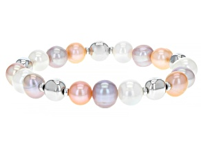 Multi-Color Cultured Freshwater Pearl Rhodium Over Sterling Silver Stretch Bracelet