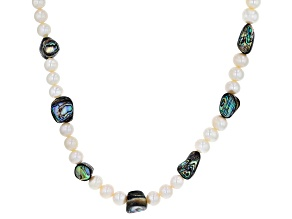 White Cultured Freshwater Pearl & Abalone Shell Rhodium Over Sterling Silver 24 Inch Necklace