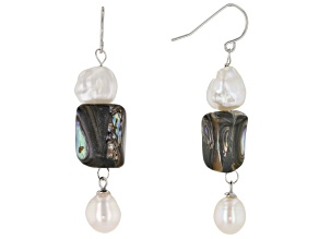 White Cultured Freshwater Pearl & Abalone Shell Rhodium Over Sterling Silver Earrings