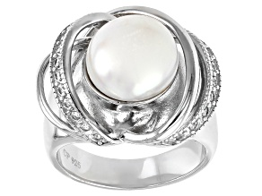 White Cultured Freshwater Pearl & Cubic Zirconia Rhodium Over Sterling Silver Ring