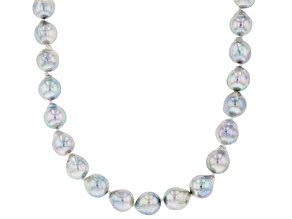 Platinum Cultured Japanese Akoya Pearl Rhodium Over Sterling Silver 18 Inch Strand Necklace