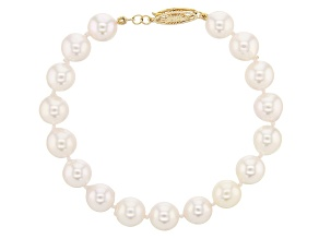 White Cultured Japanese Akoya Pearl 14k Yellow Gold Bracelet