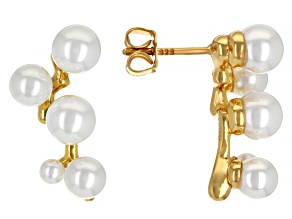 White Cultured Freshwater Pearl 18k Yellow Gold Over Sterling Silver Earrings