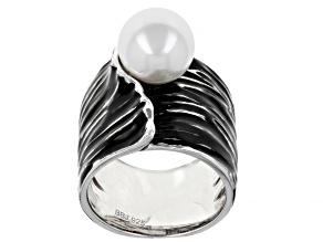White Cultured Freshwater Pearl Black Enamel & Rhodium Over Sterling Silver Ring