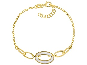 White South Sea Mother-of-Pearl 18k Yellow Gold Over Sterling Silver Bracelet