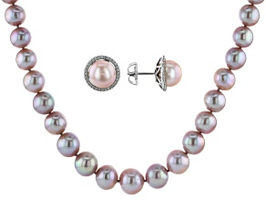 Cultured Kasumiga Pearl & Cubic Zirconia Rhodium Over Silver Necklace & Earring Set