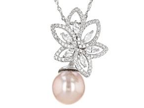 Lavender Cultured Kasumiga Pearl & Cubic Zirconia 1.65ctw Rhodium Over Silver Pendant