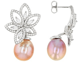 Lavender Cultured Kasumiga Pearl & Cubic Zirconia 3.38ctw Rhodium Over Silver Drop Earrings