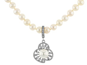 White Cultured Freshwater Pearl With Cubic Zirconia Rhodium Over Silver Necklace With Enhancer