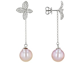 Lavender Cultured Kasumiga Pearl & Cubic Zirconia Rhodium Over Sterling Silver Dangle Earrings