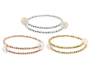 White Cultured Freshwater Pearl & White, Yellow, & Rose Hematine Wrap Bracelet Set of 3