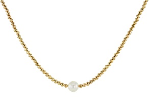 White Cultured Freshwater Pearl & Hematine 18k Yellow Gold Over Sterling Silver Necklace