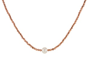 White Cultured Freshwater Pearl & Hematine 18k Rose Gold Over Sterling Silver Necklace