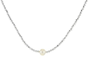 White Cultured Freshwater Pearl & Hematine Rhodium Over Sterling Silver Necklace