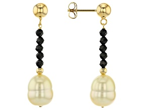Golden Cultured South Sea Pearl & Black Spinel 18k Yellow Gold Over Sterling Silver Earrings