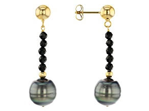 Cultured Tahitian Pearl & Black Spinel 18k Yellow Gold Over Sterling Silver Earrings