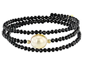 Golden Cultured South Sea Pearl & Black Spinel 18k Yellow Gold Over Silver Wrap Bracelet