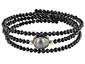 Cultured Tahitian Pearl & Black Spinel 18k Yellow Gold Over Silver Wrap Bracelet