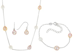 Multi-Color Cultured Freshwater Pearl Rhodium Over Silver Necklace, Bracelet, & Earring Set