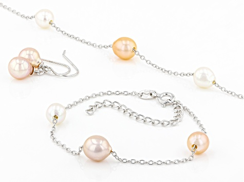 Freshwater Pearl and Charms Necklace \u2022 Single Pearl Necklace \u2022 Pearl with Pendants Necklace \u2022 Gold Necklace with white Pearl and charms