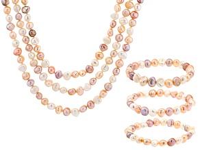 Multi-Color Cultured Freshwater Pearl Endless Strand & Stretch Bracelet Set