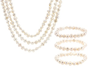 White Cultured Freshwater Pearl Endless Strand & Stretch Bracelet Set of 6