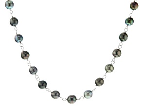 Cultured Tahitian Pearl Rhodium Over Sterling Silver Necklace