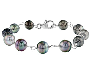 Cultured Tahitian Pearl Rhodium Over Sterling Silver Bracelet