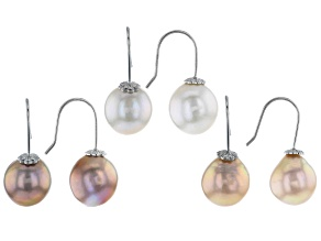 Multi-Color Cultured Freshwater Pearl Rhodium Over Silver Earrings Set of 3