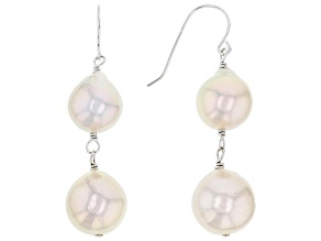 10-12mm White Cultured Freshwater Pearl Rhodium Over Sterling Silver Drop Earrings